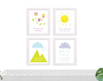 Baha'i Quote 4 print set, PRINTABLE art, Nursery decor, Nursery wall art, Kids art, Baby boy/girl nursery art, Baha'i Prayer print
