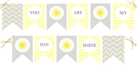 You Are My Sunshine Banner   Baby Shower Decorations, First Birthday Decor,  Chevron, Yellow, Grey / Gray, Baby Boy, Gender Neutral   Digital