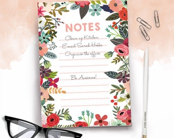 Summer Blooms A5 Daily Organiser Notepad To Do List and Pencil Set