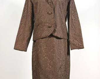 Lacy Cocoa Brown Skirt Suit Mara by Romay label 28 inch 71 cm Waist 60s Mod Mad Men