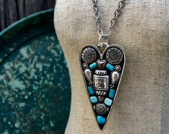 Heart Shaped Pendant Necklace Mosaic