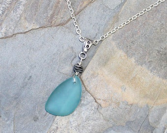 Light Blue Necklace, Sea Glass Necklace, Sea Glass Jewelry, Handmade Necklace, Summer Necklace, Ocean Necklace, Aqua Blue Necklace, For Her