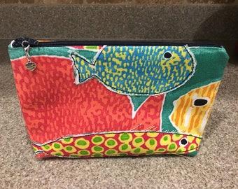 Whimsical fish cosmetic bag