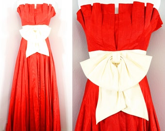 1990s Red Ballgown by Akira Isogawa.  Strapless, full skirt, floor length. Size Extra Small.