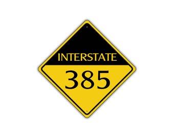 INTERSTATE 385 Highway Metal Aluminum Road Novelty Sign 12x12
