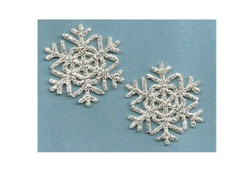 "Set Of 2 - (1 1/8"") Snowflake - Snowflakes - Snow - Winter - Metallic Silver Iron On Applique Patch"
