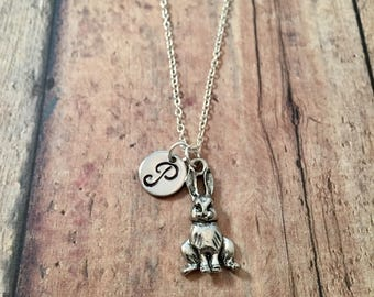 Bunny initial necklace - bunny rabbit necklace, rabbit jewelry, rabbit charm necklace, silver rabbit necklace, Easter jewelry