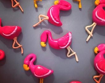 6 x Polymer Clay Flamingo Beads Charms Flatbacks
