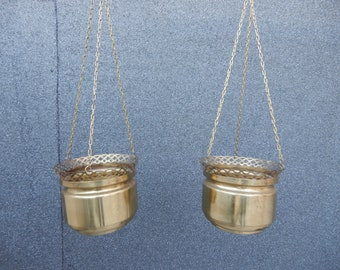 Vintage set of 2 gold brass hanging planters with chain boho bohemian decor plants