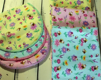 Set of Three Flannel Receiving Blankets With Matching Burp Cloths