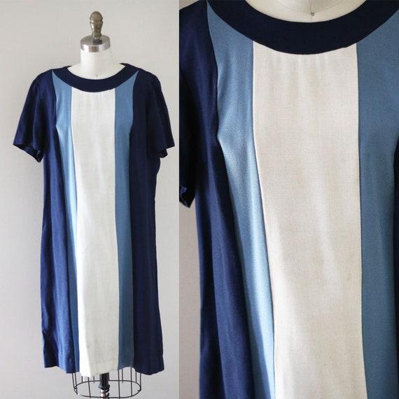 1960s blue shift dress // 1960s striped dress // vintage dress