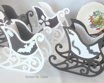 Monochrome Sleigh - Black & White - Christmas Sleigh  - Halloween Sleigh - Bats - Spiders - Gothic - All Hallows Eve - Flowers -Flat Pack
