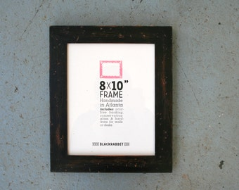 Custom Sized Distressed Rustic Black Picture Frame (28 x 7 in)