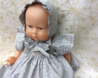 Gray bonnet or doll 30 cm