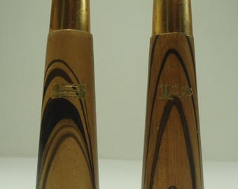 Mid Century Modern Danish Atomic Striped Wood Salt And Pepper Shakers With Gold Top and Gold Lettering
