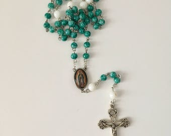 Catholic Green and White Our Lady of Guadalupe Rosary