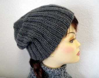 Hand Knit Hat Grey Ribbed Beanie Slouchy Hat Winter Hat