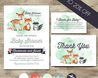 Baby shower packages t3 designs co woodland baby shower invitation package woodland animal baby shower forest animal baby shower filmwisefo