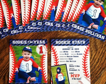 """Printed """"Rookie of the Year"""" Baseball Cards - actual baseball card size"""