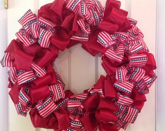 Patriotic Wreath - 24 Inch Bow Wreath Door Decor 4th of July - Independence Day Wall Decoration Wall Hanging