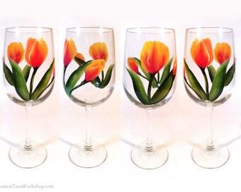 Hand Painted Tulip Wine Glasses Set of 4 Orange Spring Tulip Stemware