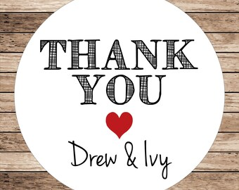 Thank You (heart) . Personalized Wedding Stickers or Tags