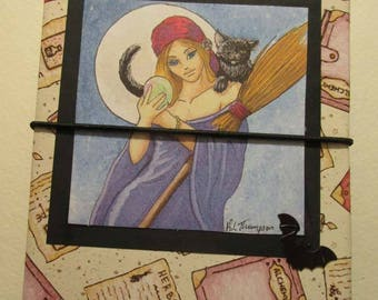 Moon Witch travelers notebook midori fauxbonichi hobonichi planner upcycled passport pagan wicca witch magic spell book journal bats