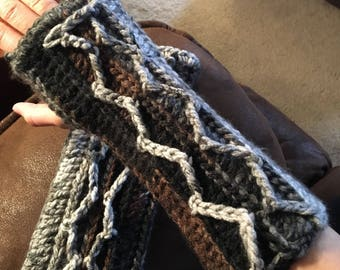 Handmade crocheted fingerless gloves