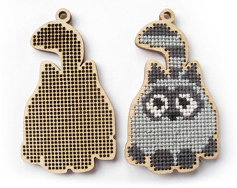 Cross stitch blank, Cat, Cat pattern, Cross Stitch Pendant, Plywood Blank, Cross Stitch, Laser Cut, 1 Piece