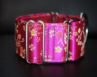 BELLE - Special occasion martingale collar, Fancy sighthound collar, Greyhound collar, Galgo collar, Fuchsia Martingale, Hot pink collar