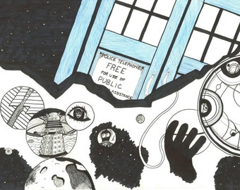Doctor Who Collage Print 11x14