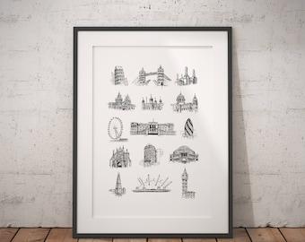 London Print / London Poster / London Wall Art / London Ink Drawing / London Skyline - London Landmarks