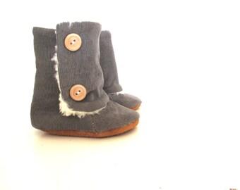 Baby Grey Corduroy Winter Boots