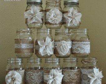 Set of 12 Mason Jar Sleeves,Burlap Wedding Centerpieces, Mason Jar Wedding, Rustic Wedding Decorations, Shabby Chic, Jar Not Included
