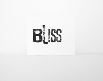 BLISS Typography Block Print BLISS in BLACK Woodblock 8x10 printmaking