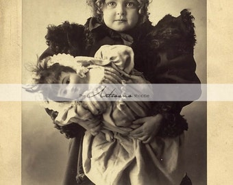 Instant Download Printable Art - Antique Photograph Girl with Doll - Paper Crafts Altered Art - Instant Art - Victorian Girl Portrait Sepia