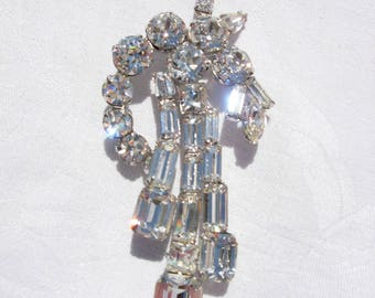 Vintage Weiss Signed Clear Rhinestone Shooting Star Brooch