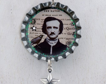 Edgar Allan Poe raven collage Bottle cap necklace