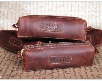Shavig Kit/Leather men's toiletry bag /Personalized gift/ leather dopp Kit /Groomsman Gift /Wedding gift for groomsman /FREE Personalization