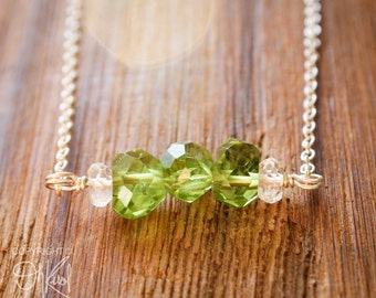 Green Peridot Birthstone Necklace - August Birthstone - Crystal Quartz, 925 Silver