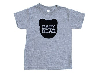 Baby Bear TriBlend Heather Grey TShirt with Black Print - Infant and Toddler sizes