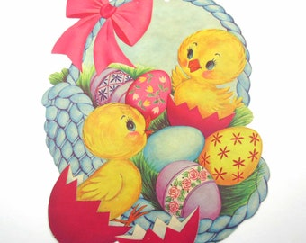 Vintage Easter Die Cut Cardboard Decoration with Yellow Chicks Colored Easter Eggs Basket