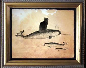 Black Cat Riding Narwhal - Black Cat Riding Narwhal - Vintage Collage Art Print on Tea Stained Paper -- father's day gift- graduation gift