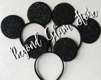 Elijah's Mickey & Minnie Black Sparkly! Ears 1 Pair Only! One Size Fits All!