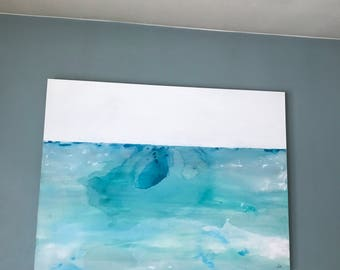 Dive,huge abstract painting, turquoise, large acrylic painting,