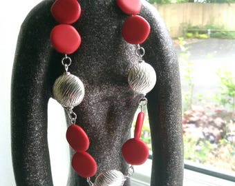 Red ceramic and silver beaded necklace