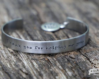 Thank you for helping me grow Stainless cuff with charm Hand stamped stainless cuff Teacher Gift Teacher appreciation