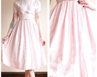 1950s Dress // Light Pink Floral Embroidered Dress // vintage 50s dress