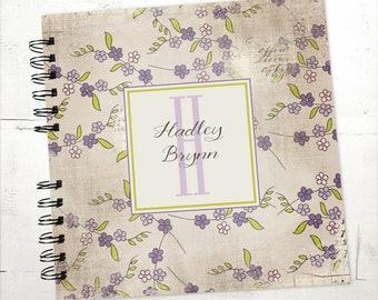 Baby Book |  Baby Memory Album | Green and Purple Floral Wire Bound Baby Memory Book Keepsake Album
