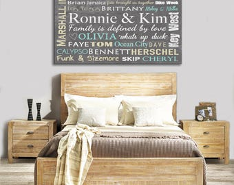 Unique gift for couple, wedding gift for couple, memories word art canvas print, places word canvas, names art canvas, made with your words